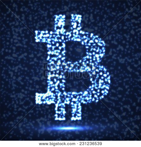 Abstract Sign Bitcoin Of Glowing Particles, Payment System, Abstract Sign