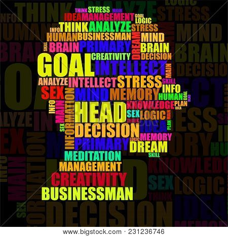 Abstract Colorful Silhouette Human Head Of Words