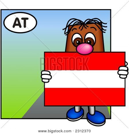\'Brownie\' Showing The Austrian Flag