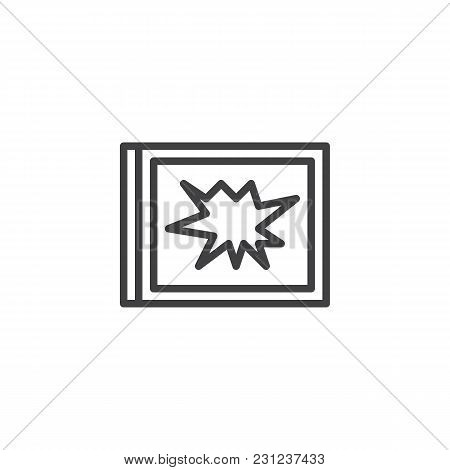 Broken Window Outline Icon. Linear Style Sign For Mobile Concept And Web Design. Robbery Simple Line