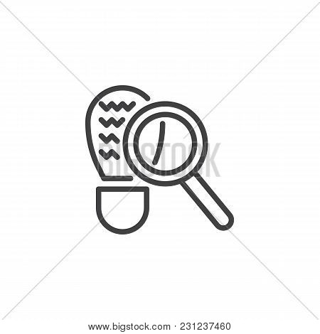 Looking For Clues Outline Icon. Linear Style Sign For Mobile Concept And Web Design. Magnifying Glas