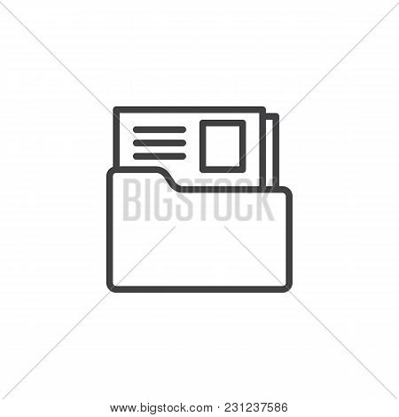 Dossier Folder Outline Icon. Linear Style Sign For Mobile Concept And Web Design. The Secret Files S
