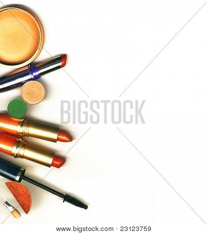 makeup brush and cosmetics, on a white background isolated poster