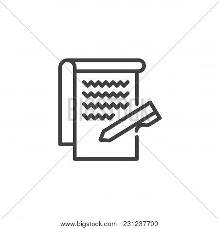 Paper And Pen Outline Icon. Linear Style Sign For Mobile Concept And Web Design. Writing Notes Simpl