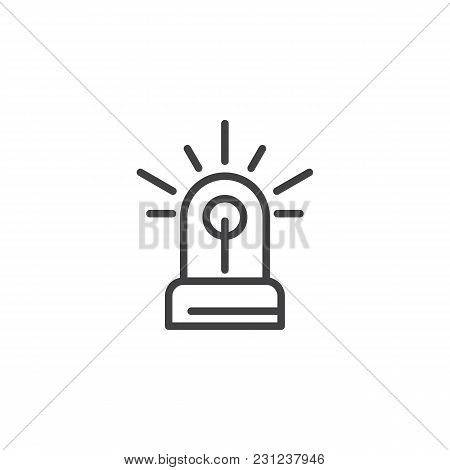 Flasher Outline Icon. Linear Style Sign For Mobile Concept And Web Design. Siren Light Simple Line V