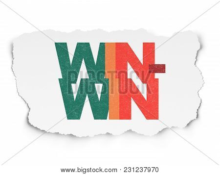 Business Concept: Painted Multicolor Text Win-win On Torn Paper Background