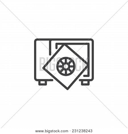 Safe With Broken Door Open Outline Icon. Linear Style Sign For Mobile Concept And Web Design. Broken