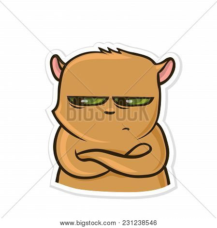 Sticker For Messenger With Funny Animal. Sad Pissed Off Hamster. Vector Illustration, Isolated On Wh