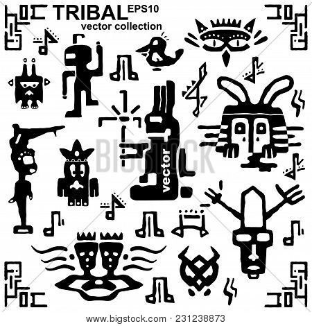 Set Of Tribal Icons And Musical Notes. Ancient Elements And Symbols Of The Maya. Black And White Sil
