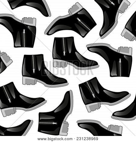 Leather Boots Black With Clasp Lightning Pattern