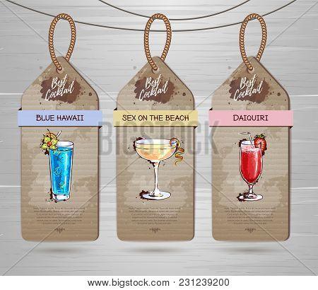 Set Of Restaurant Labels Cocktail Menu Design