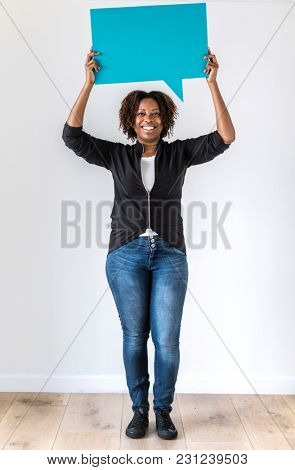 poster of Black woman holding speech bubble icon