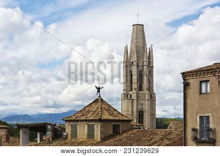 Spain Girona - September 18, 2017: Bell Tower Of The Cathedral