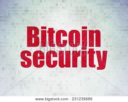 Cryptocurrency Concept: Painted Red Word Bitcoin Security On Digital Data Paper Background
