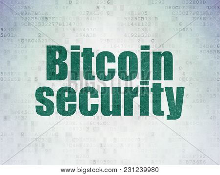 Blockchain Concept: Painted Green Word Bitcoin Security On Digital Data Paper Background