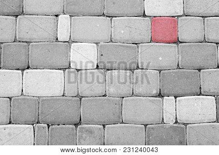 Red Pavement Block Among Black And White Concrete Blocks
