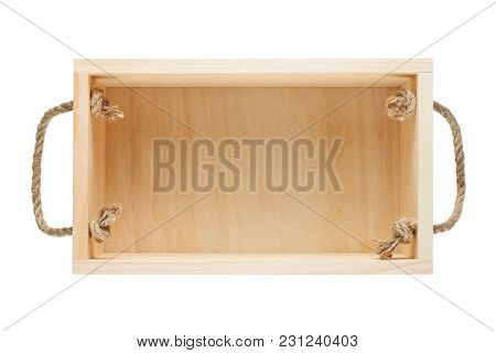 Empty Wooden Box Isolated On White Background Top View