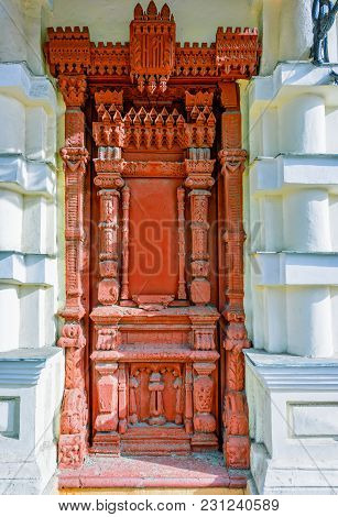 Entrance, Antique, Red, Wooden Door, Decorated With Rich And Complex Carvings, Located Between Two S