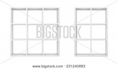 White Empty Bookshelf Template. Realistic Isolated Vector