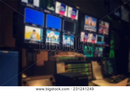 Blurred Picture Video Switch Of Television Broadcast, Working With Video And Audio Mixer, Control Br