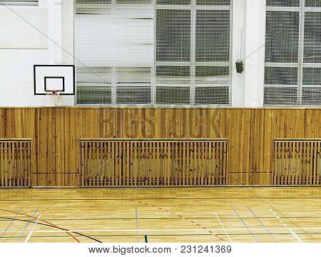 Basket Ball Hoop In Empty Basketball Court,  School Sporting Hall