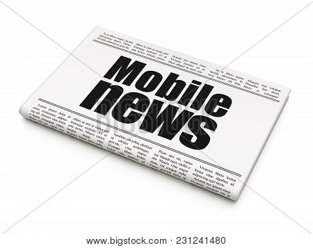 News Concept: Newspaper Headline Mobile News On White Background, 3d Rendering