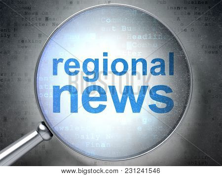 News Concept: Magnifying Optical Glass With Words Regional News On Digital Background, 3d Rendering