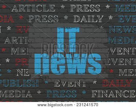 News Concept: Painted Blue Text It News On Black Brick Wall Background With  Tag Cloud