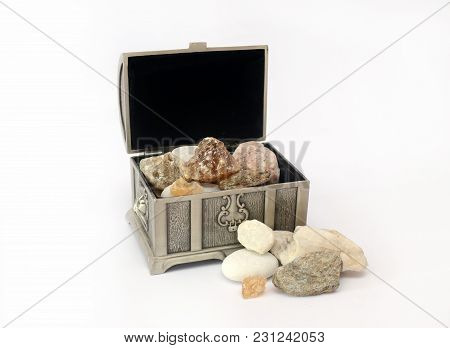 Silver Casket With Gems On White Background