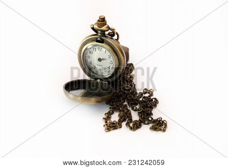 Vintage Pocket Watch Without Hour Hands On White Background