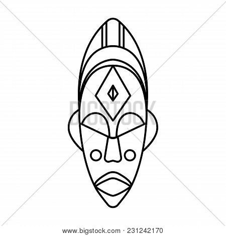 African Mask Icon. Outline African Mask Vector Icon For Web Design Isolated On White Background