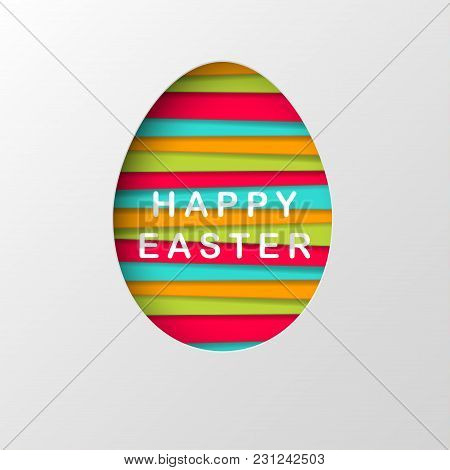 Vector Easter Background. Creative Easter Egg With Pattern. Vector Illustration