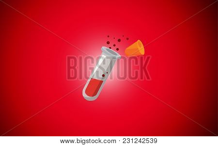 Chemical Test Tube On A Red Background. Vector Illustration Of Test Tubes.