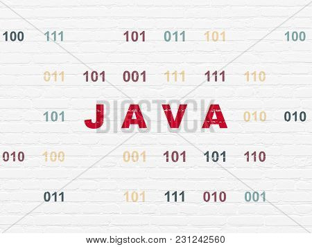 Database Concept: Painted Red Text Java On White Brick Wall Background With Binary Code