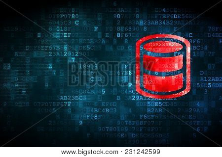 Programming Concept: Pixelated Database Icon On Digital Background, Empty Copyspace For Card, Text,