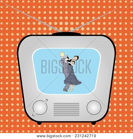 Retro Tv With Dancing Couple On A Retro Comic Background. Illustration
