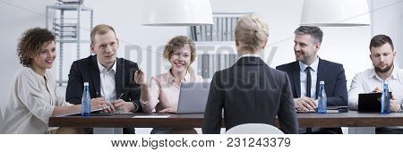Smiling Woman From Examining Commission