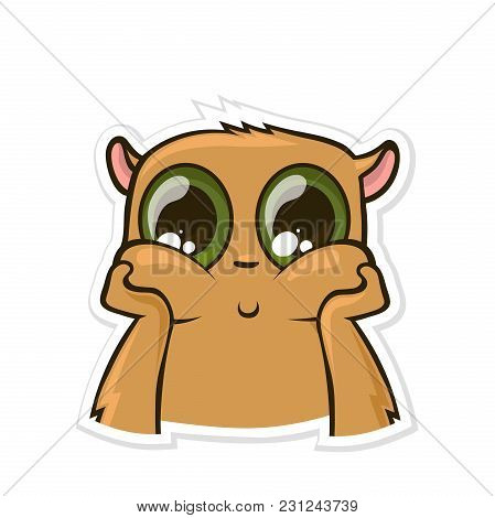 Sticker For Messenger With Funny Animal. Dreamy, Pensive Hamster. Vector Illustration, Isolated On W