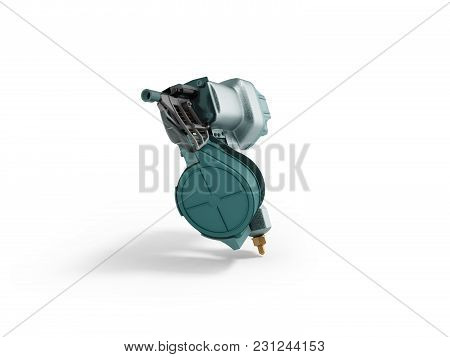 Modern Pneumatic Nail Blue In Front 3d Render On White Background With Shadow