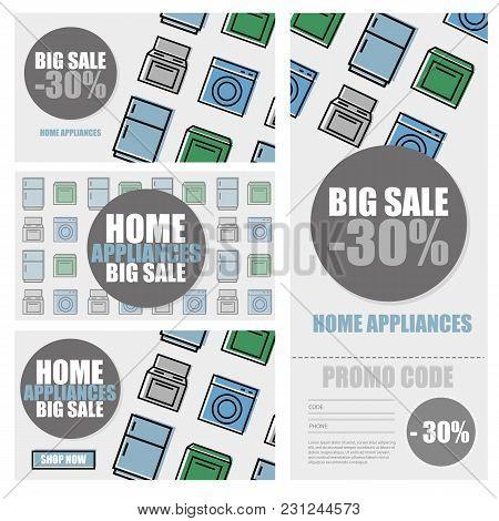 Household Appliances Discount Season Sale Banner Vector Illustration. Promo Code, Retail Sticker. Ad