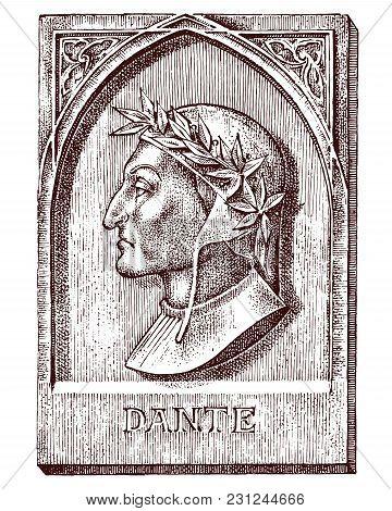 Dante Alighieri. Element For Architecture, Design On Building For Tattoo Or T-shirt Design. Symbol O