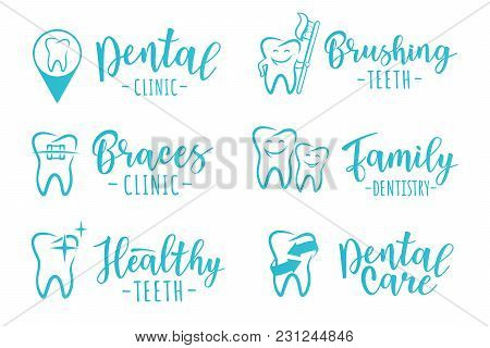 Vector Set Of Dentistry Labels: Dental Clinic, Brushing Teeth, Family Dentistry, Braces Clinic, Heal