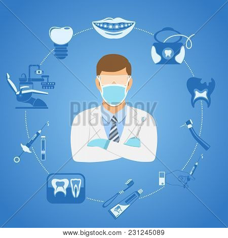 Dental Clinic Concept With Flat Two Color Icons Dentist Chair, Dentist Doctor, Braces, Cartridge Syr