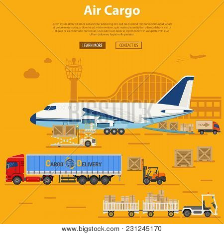 Air Cargo Delivery And Logistics With Flat Icons Truck, Aircraft, Airport, Tug And Forklift. Vector