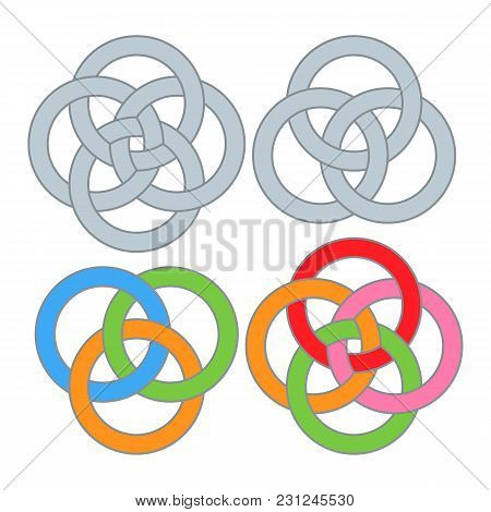 Intersecting Intertwining Colored And Monochrome Circles. Vector Illustration