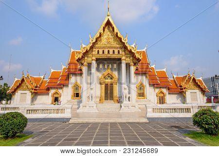 Bangkok , Thailand - 13 March, 2018: Wat Benchamabophit Dusitwanaram Landmark In Bangkok, Thailand I