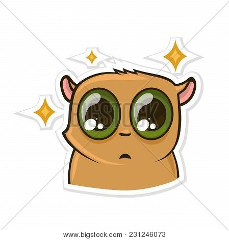 Sticker For Messenger With Funny Animal. Puzzled Hamster. Vector Illustration, Isolated On White Bac