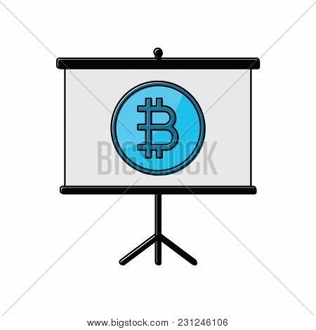 Cryptocurrency Bitcoin On Presentation Board Thin Line Flat Design Icon Vector Illustration. Editabl