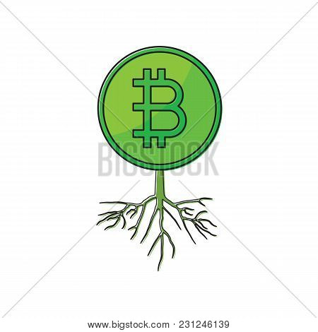 Cryptocurrency Bitcoin With Root Thin Line Flat Design Icon Vector Illustration. Editable Stroke