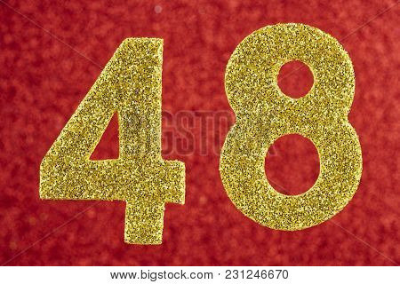 Number Forty-eight Gold Color Over A Red Background. Anniversary. Horizontal